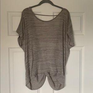 NWT Express heatherd gray open-back shirt
